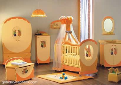 turuncu bebek odası dekorasyonu