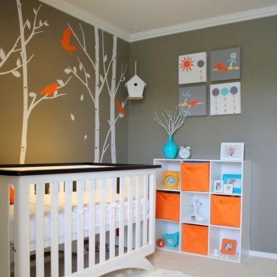 Gri Renk Bebek Odası Dekorasyonu